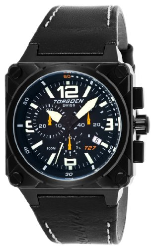 Torgoen Swiss Men's T27101 T27 Chronograph Black Ion-Plated Aviation Watch