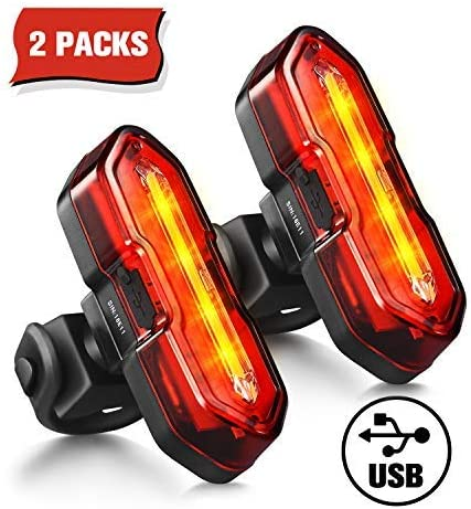 TOPELEK Bike Lights, Ultra-Bright LED Bicycle Light, Bike Rear Light, USB Rechargeable Waterproof Bright Bike Taillights2 Packs
