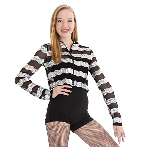 Hip Hop Dance Costumes For Girls (Gia-Mia Dance Big Girls' Sequin Stripe Jacket Dance Stretch Mesh Jazz Hip Hop Costume Performance Team, Silver, M)