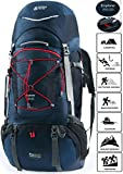 TERRA PEAK Adjustable Hiking Backpack 55L+20L for Men Women With Free Rain Cover Included Navy For Sale
