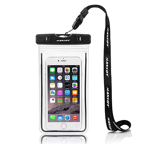 MANSOV Universal Waterproof Case Cell Phone Dry Bag Pouch for Apple iPhone 7, 7 Plus, 6s, 6 Plus, 5S, 5C, 5, 4S, Samsung S6, S5 up to 5.8 inches IPX8 Certified to 100 Feet