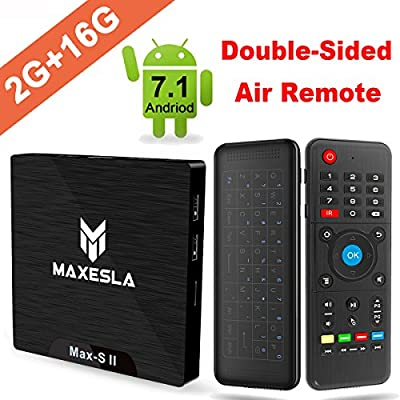 Smart TV BOX Android 7.1 - Maxesla MAX-S II Mini TV Box de 2GB RAM + 16GB ROM, 2018 Última CPU Amlogic S905W, WIFI 2.4GHz, Doble USB, H.265, HDMI & AV, 4K