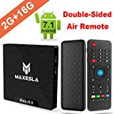 Maxesla TV Box Android 7.1 Newest MAX-S II Smart TV Box with 2GB RAM + 16GB ROM, Upgrade Amlogic S905W, 4K UHD, H.265 Video Decoder, Wifi Internet Media Player + Air Remote Control with Keyboard