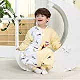 Soft Infant Baby Sleeping Bags M/31.5In Newborn Sleepwear Baby Nursery Swaddle Wrap Blanket Sleeping Bag,Fall Winter Sleeping Bag with Removable Sleeve Feet,Perfect for 0-1 Years Old Baby(Yellow)