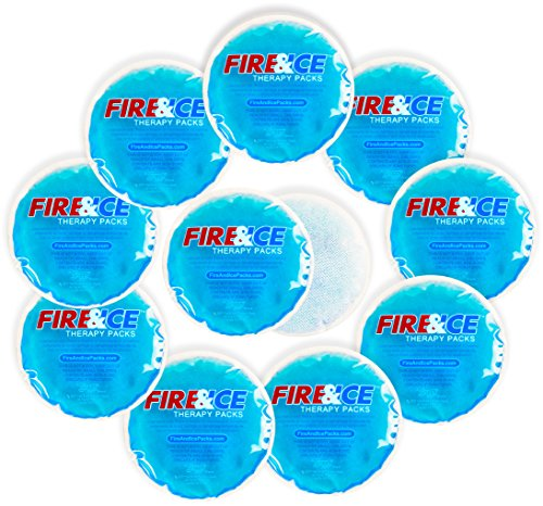 Small Round Hot Cold Packs with Cloth Backing - 10 Reusable Hand Warmers, Microwavable Heat Pads, Soothing Cooling Gel Compress and Lunch Box Freezer Ice (Microwave Warmer)