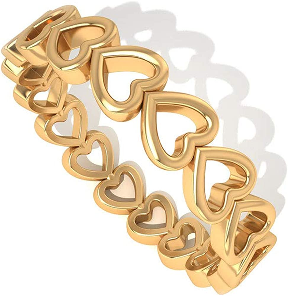 Anillo de eternidad con corazón abierto grabado en oro antiguo, apilable para boda, anillo de promesa de amor eterno, anillo único de cumpleaños aniversario vintage para mujer, oro de 10 quilates