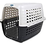 Petmate 41035 Compass Plastic Pets Kennel with Chrome Door, Metallic White/Black
