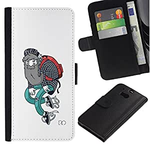 ZCell / HTC One M8 / Hipster Art Style Outfit Beard Painting Art / Caso Shell Armor Funda Case Cover Wallet / Hipster arte estilo Traje Barba Pin