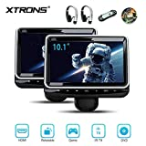 XTRONS Universal 10.1 inch Car Headrest Multimedia CD DVD Player with HDMI USB SD Port Support 8Bit & 32Bit Games Screen Sharing Mounting Bracket & 2pcs IR Wireless Headphones Included