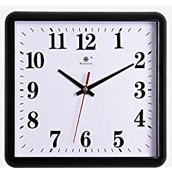 Jedfild Mute minimalist living room wall chart bedroom square modern quartz clock time clock, 10 inch, black