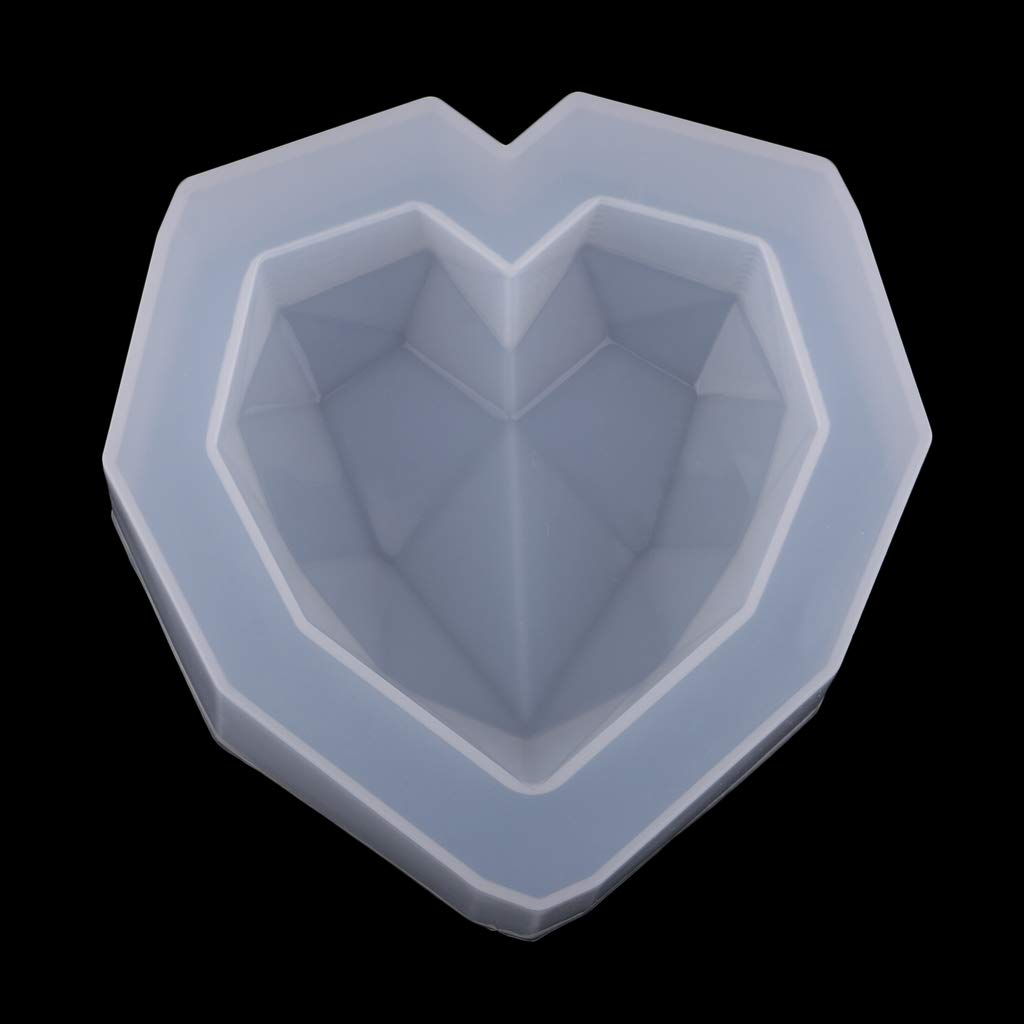 Chocolate 6x6x1.5cm Fityle Resin Silicone Mold Resin Art Molds Silicone Jewelry Making Molds Diamond Heart for Casting Resin Wax Wedding Soap Epoxy Resin Cake