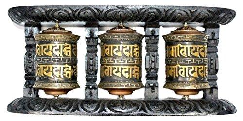 Buddhist: Om Mani Padme Hum Three-in-One Wall Prayer Wheel
