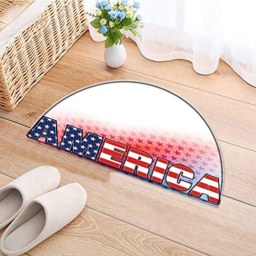 Entrance Hall Carpet USA Flag On America with Stars Background Illustration Freedom Independence Liberty Red Blue Non Slip Rug W24 x H16 INCH ()
