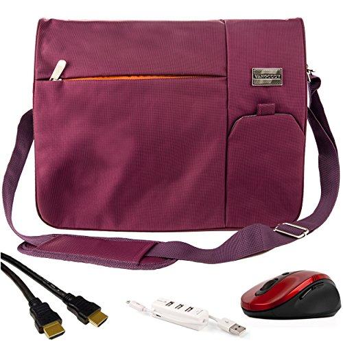Premium Combo Pack: Plum Purple Nylon Messenger Bag with 12F