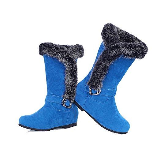 VogueZone009 Damen Ziehen auf Hoher Absatz Rein Niedrig-Spitze Stiefel mit Schnalle Himmelblau