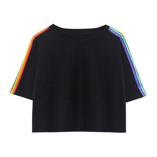 Manga corta,Ba Zha Hei Camisetas Deportivas Mujer Manga Corta Fitness Running T Shirt Ladies Rainbow Print Loose camiseta corta Elegante y Moda blusa ropa ...