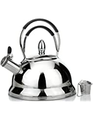 Whistling Tea Kettle with RAPID BOIL Technology - Stove Top Kettles Teapot with Double Silicone Handle, Stainless Steel Mirror Finish, 2.5 Quart Tea Pot - Tea Maker Infuser Teapots Strainer Included