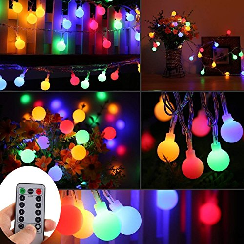 WERTIOO 33ft 100 LEDs Battery Operated String Lights Colorful Globe Fairy Lights with Remote Control for Outdoor/Indoor Bedroom,Garden,Christmas Tree[8 Modes,Timer ] (Multicolor) -