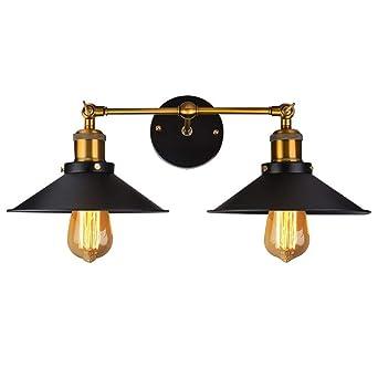 7b1631d7ad72 Coquimbo Apliques de Pared Lámpara rústico industrial Loft Metal chapado  doble de pared lámpara para casa