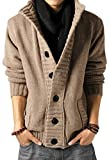 Wantdo Men's Casual Slim Fit Thick Cardigan Cool Sweater Cream-Coloured US X-Small/Tag L