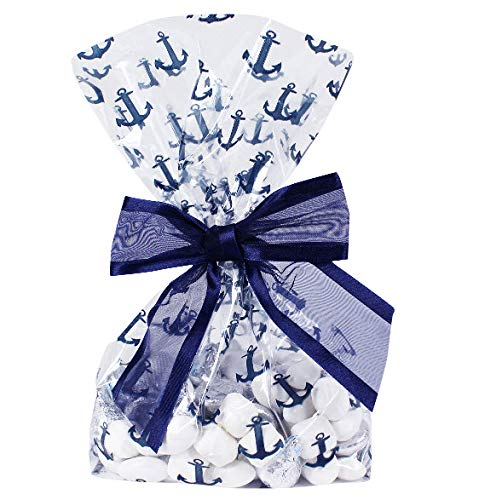 Saybrook Products Nautical Anchors Cellophane Treat/Party/Wedding Favor Bags with Twist-Tie Organza Bow. Set of 10 Ready-to-Use, Gusseted 11x5x3 Goodie Bags with Bows, Navy Blue/Clear