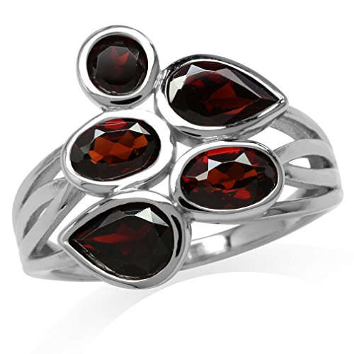 (3.14ct. Natural Garnet White Gold Plated 925 Sterling Silver Cluster Ring Size 8)