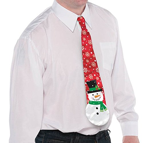 Fun-Filled Christmas and Holiday Party Snowman Men's Tie , Red, Fabric , 4 1/2