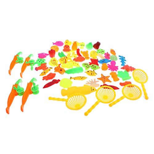 Baoblaze Set de Modelo de Animales Marinos de Peces y Cañas de Pescar Juego de Pesca Magnética para Niños - 60 Piezas