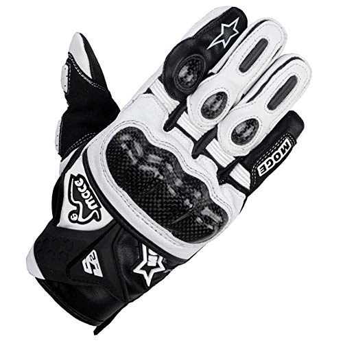 - RDMZ Full Finger Motorcycle Gloves   Knight Carbon Fiber Outdoor Gloves Breathable Drop Four Seasons Motorcycle Male (Color : White, Size : L)