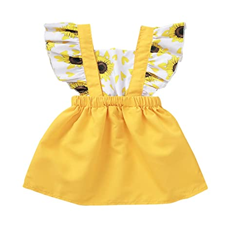 Toddler Kids Baby Girl Clothes Princess Sunflowers Dress Autumn Sundress Outfits