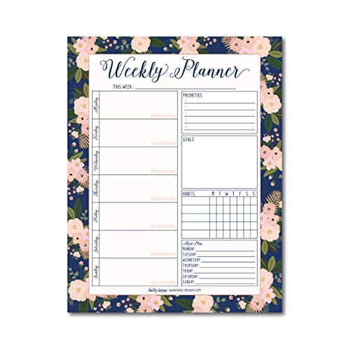 Navy Floral Undated Weekly Family Calendar Planner Pad, Mom Monthly To Do List Desk Paper Notepad, Week Day Weekend Organizer, Personal Habit Tracker, Birthday Productivity Gift Idea 50 Tear Off Pages