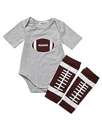 ONE'S 2pcs Newborn Infant Baby Boy Girls Football Bodysuit Jumpsuit+Leg Warmer Outfits