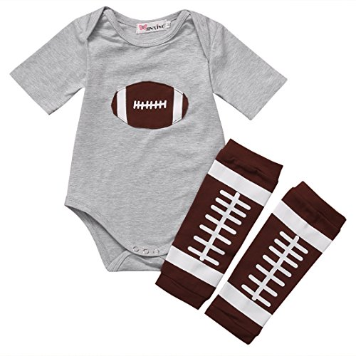 Baby Girls I Watch ESPN with My Daddy Football Romper Bodysuit and Leg Warmers Socks Outfit (6-12M, Football) ()