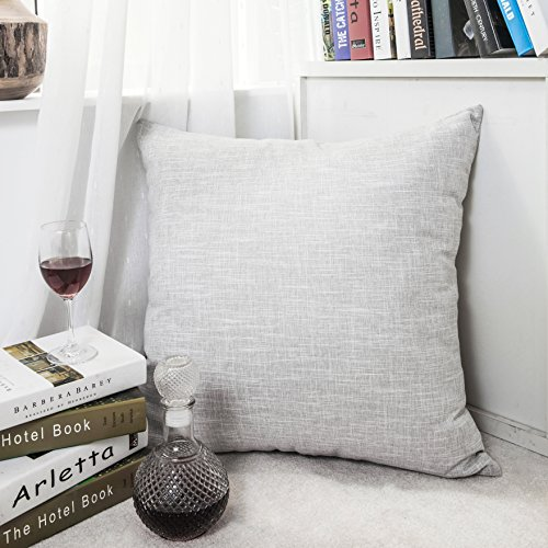 Kevin Textile Xmas Decoration Linen Pillow Cover Square Euro Throw Pillow Case Sham Cushion Cover for Floor with Invisible Hidden, 26x26 inches(Set of 1, Light Grey)