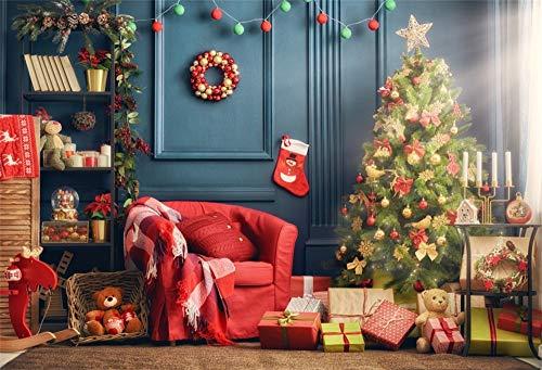 AOFOTO 9X6ft Joyful Christmas Background Decorated Xmas Tree Horse Gift Bear Toy Candlestick Wreath Stocking Garland Stocking String Lamps Red Sofa Carpet Backdrop Festival Celebration Studio Drape
