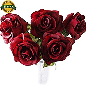 XHSP 5pcs/lot High-grade Artificial Rose Flowers Home Wedding Party Decor Real-touch Artificial Flowers 100