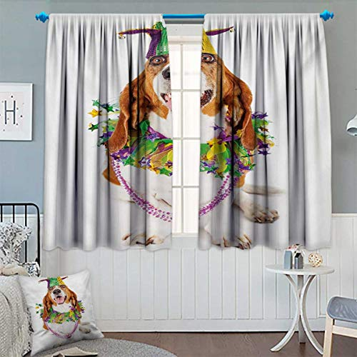 Chaneyhouse Mardi Gras Room Darkening Curtains Happy Smiling Basset Hound Dog Wearing a Jester Hat Neck Garland Bead Necklace Customized Curtains 55