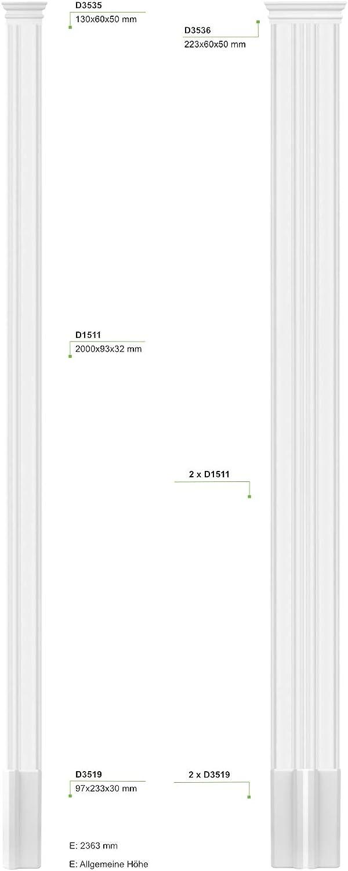 Kapitell D3519 HEXIM Pilaster ca Kapitell /& Sockel 93x32mm Perfect D1511 Wandreliefe//Stuckdekor aus PU Hartschaum Auswahl von Schaft