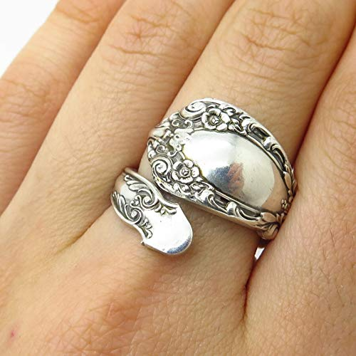 (VTG Alvin Prince Eugene 925 Sterling Silver Wide Adjustable Spoon Ring Size 7.5 Jewelry by Wholesale Charms)