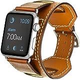 Elobeth Apple Watch バンド スマートウォッチ Apple Watch ストラップ Watch バンド アップルウォッチ バンド 本革 レザーストラップをあしらったカフ アップルウォッチ バンド ラグ付き for Apple Watch(42mm, ブラウン)