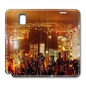 Note 3 leather Case,Note 3 Cases ,Bustling metropolis night photos Custom Note 3 High-grade leather Cases