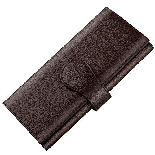 (Luxspire RFID Blocking Women Lady Wallet Long Handbag Large Capacity Genuine Leather Clutches Bifold Multi Card Holder Organizer Ladies Purse, Coffee)