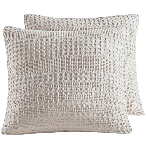 Review PHF Waffle Weave Euro Sham Cover 26 X 26 100% Cotton Throw Pillow Cover Pack of 2
