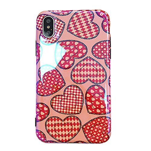 Humidors red Love Heart Pattern Creative Personality All-Inclusive Mobile Phone Shell Cute Girl Series 6,6s6p,6sp7,8 7p,8p iPhone X Mobile Phone Shell (Size : IPhone7/8)