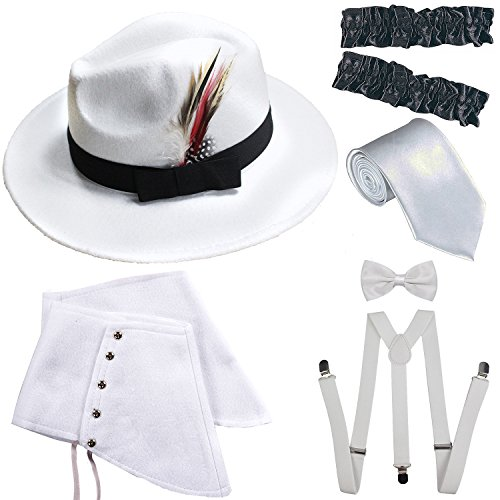 1920s Trilby Manhattan Fedora Hat, Gangster Spats/Armbands,Suspenders Y-Back Trouser Braces,Pre Tied Bow Tie,Tie (OneSize, White-Black)