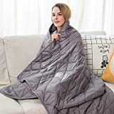 Weighted Blanket 15 lbs - 48' x 72' Heavy Blanket - Anti Anxiety Blanket for Adults or Kids- Calming Blankets for Insomnia, Anxiety, Autism or Stress - Twin Size