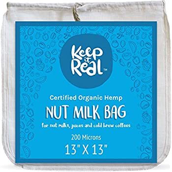"""Keep It Real Organic Nut Milk Bag - Large 13""""x13"""", All Natural, Chemical Free, Reusable Almond Milk Bag & All Purpose Cheesecloth Strainer - Eco-Friendly Organic Hemp For Smooth Nut Milk & Juices"""