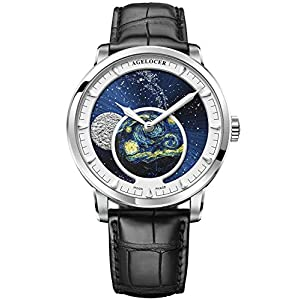 Agelocer Men's Genuine Diamond Dial Automatic Mechanical Blue Moon Phase Stainless Steel Watch 6401D2
