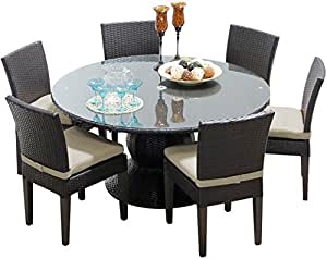 "TK Classics PNA 60""al aire libre Patio mesa de comedor con 6sillas sin reposabrazos/napa-60-kit-6C"