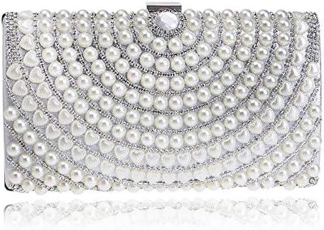ヨーロッパとアメリカのファッションレディースクラッチ、高級宴会真珠のイブニングバッグ、クロスボディバッグ、3色、22 * 114.5 * 4.5 Cm 美しいファッション (Color : White)